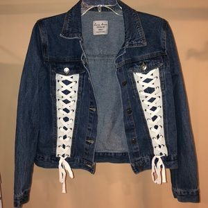 Denim tie up jacket